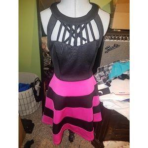 Fuschia Cut Out & Striped Racerback A-Line Dress